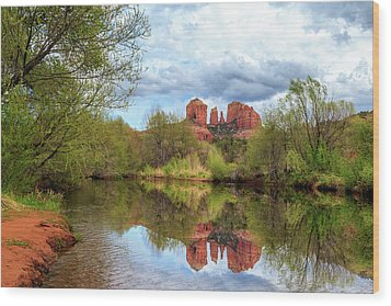 Wood Print featuring the photograph Cathedral Rock Reflection by James Eddy