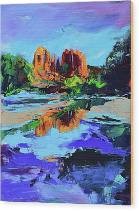 Wood Print featuring the painting Cathedral Rock - Sedona by Elise Palmigiani