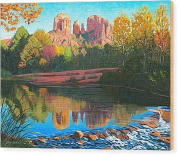 Cathedral Rock - Sedona Wood Print by Steve Simon