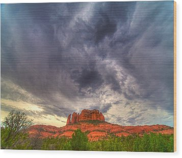 Cathedral Rock Vortex Wood Print