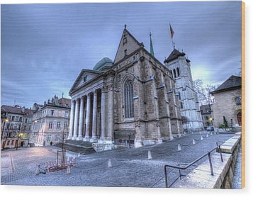 Cathedral Saint-pierre, Peter, In The Old City, Geneva, Switzerland, Hdr Wood Print by Elenarts - Elena Duvernay photo