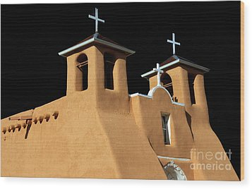 Wood Print featuring the photograph St Francis De Assi Church  New Mexico by Bob Christopher