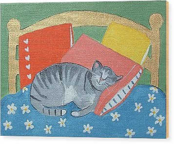 Catnap Wood Print by Christine Quimby