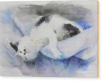 Catnap2-1 Wood Print