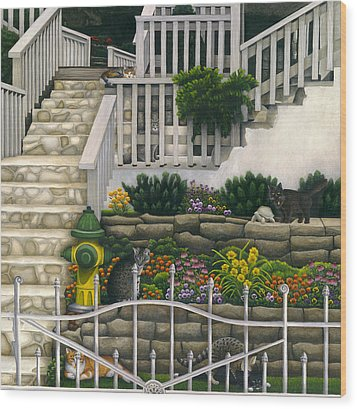 Cats Among Stairs And Garden  Wood Print by Carol Wilson