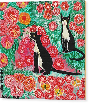 Cats And Roses Wood Print by Sushila Burgess