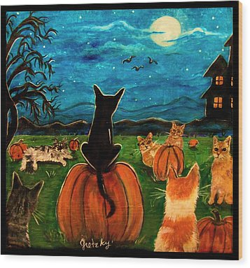 Cats In Pumpkin Patch Wood Print by Paintings by Gretzky