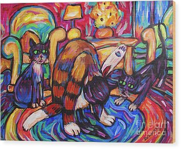 Wood Print featuring the painting Cats In The Lounge by Dianne  Connolly