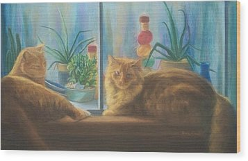 Cats In The Window Wood Print by Diane Caudle
