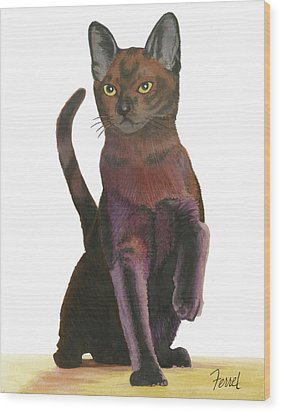 Wood Print featuring the painting Cats Meow by Ferrel Cordle