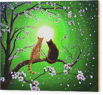 Cats On A Spring Night Wood Print