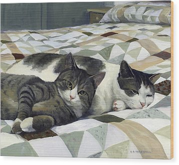Wood Print featuring the painting Cats On The Quilt by Alecia Underhill