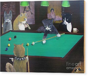 Cats Playing Pool Wood Print by Gail Eisenfeld