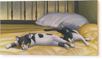 Cats Sleeping On Big Bed Wood Print by Carol Wilson