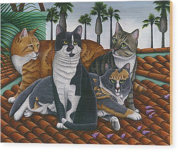 Cats Up On The Roof Wood Print by Carol Wilson