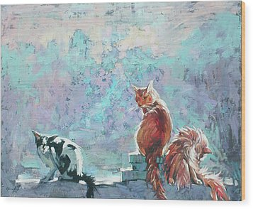 Wood Print featuring the painting Cats. Washed By Rain by Anastasija Kraineva