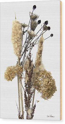 Wood Print featuring the digital art Cattails And November Flowers II by Lise Winne