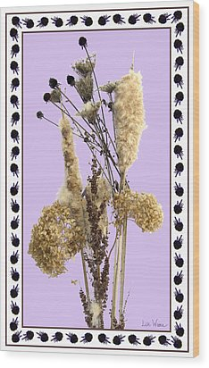 Wood Print featuring the digital art Cattails And November Flowers by Lise Winne