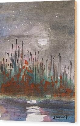 Cattails And Stars Wood Print by John Williams