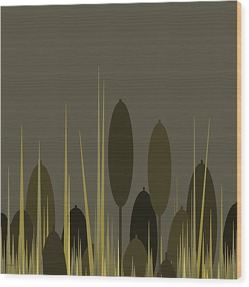 Cattails In The Rain Wood Print