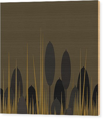 Cattails Wood Print by Val Arie
