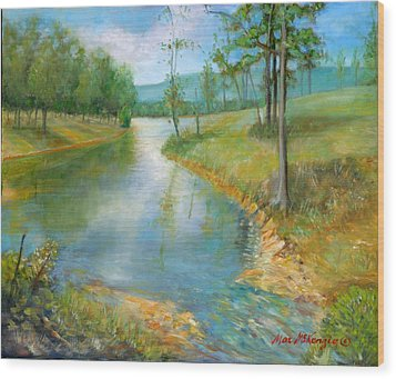 Cattle Cooling Pond Wood Print by Max Mckenzie