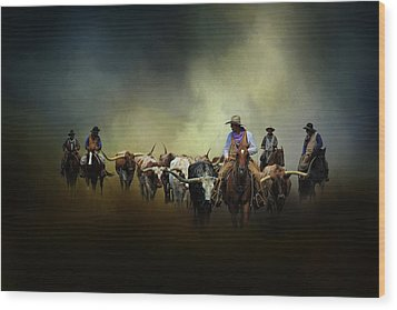 Cattle Drive At Dawn Wood Print by David and Carol Kelly
