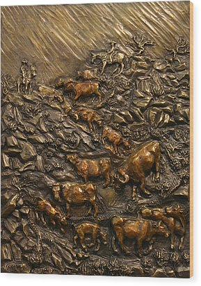Wood Print featuring the sculpture Cattle Drive by Dawn Senior-Trask