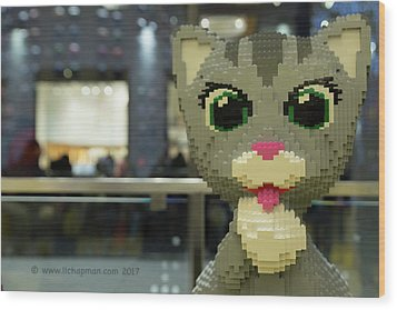Wood Print featuring the photograph Caturday In Legoville by Lora Lee Chapman