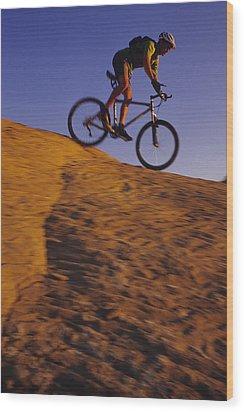 Caucasian Male Mountain Biking Wood Print by Bobby Model