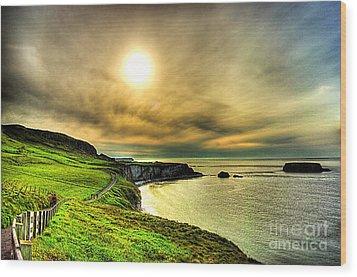 Causeway Sunset Walk Wood Print by Kim Shatwell-Irishphotographer