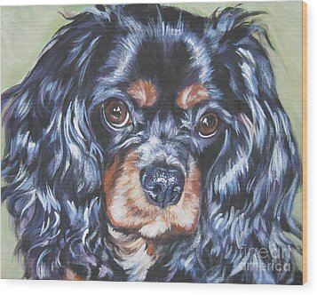Cavalier King Charles Spaniel Black And Tan Wood Print