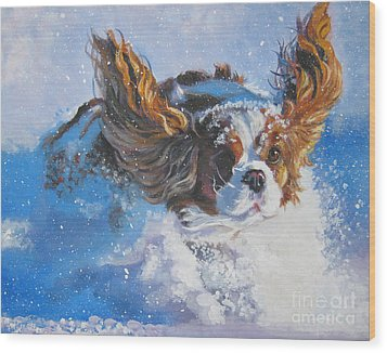 Cavalier King Charles Spaniel Blenheim In Snow Wood Print by Lee Ann Shepard