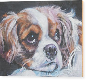 Cavalier King Charles Spaniel Blenheim Wood Print by Lee Ann Shepard