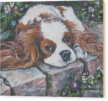 Cavalier King Charles Spaniel In The Pansies  Wood Print