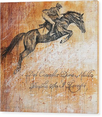Cavallo Contemporary Horse Art Wood Print by Jennifer Godshalk