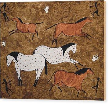Cave Horses Wood Print by Stephanie Moore