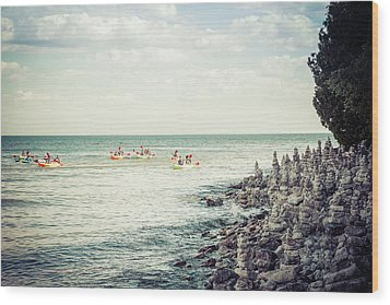 Wood Print featuring the photograph Cave Point Rock Formations by Joel Witmeyer