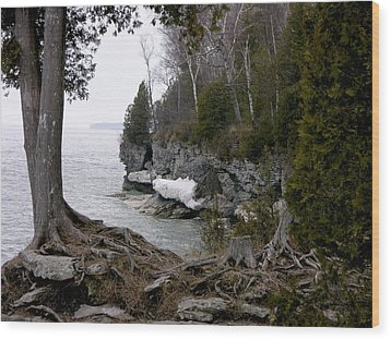 Cave Point Wisconsin Wood Print by Keith Stokes