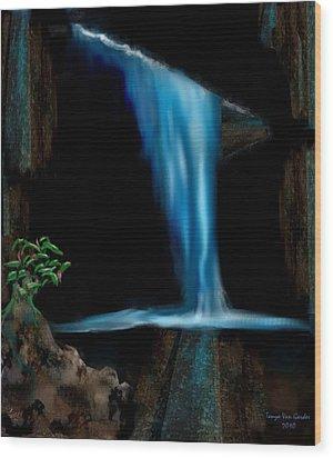 Cave Waterfall Wood Print by Tanya Van Gorder