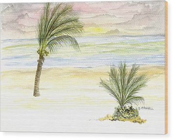 Wood Print featuring the digital art Cayman Beach by Darren Cannell