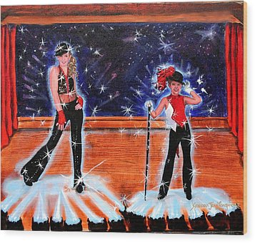 Cd Cover Design Jazz Dancers Wood Print by Sandra Longmore