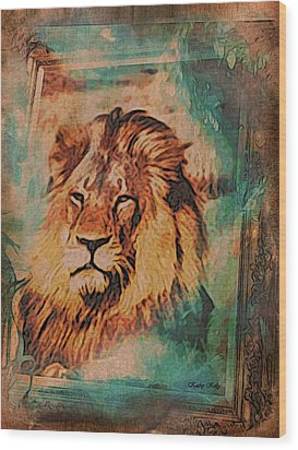 Wood Print featuring the digital art Cecil The Lion by Kathy Kelly