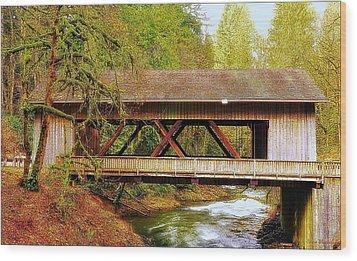 Cedar Creek Grist Mill Covered Bridge Wood Print by Steve Warnstaff