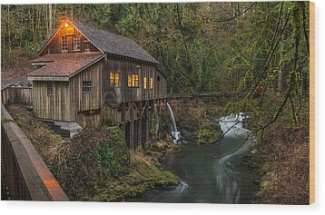 Cedar Grist Mill Wood Print by Rick Dunnuck