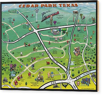 Cedar Park Texas Cartoon Map Wood Print by Kevin Middleton