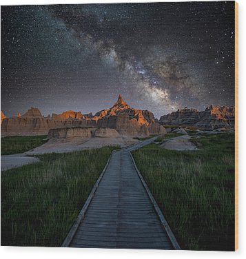 Wood Print featuring the photograph Cedar Pass Milky Way by Darren White
