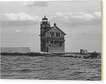 Cedar Point Light Chesapeake Bay Maryland Vintage 1960 Wood Print by Wayne Higgs