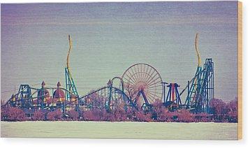Cedar Point Skyline Wood Print