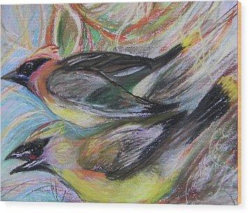 Cedar Waxwings Wood Print by Emily Michaud